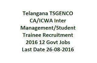 Telangana TSGENCO CA/ICWA Inter Management/Student Trainee Recruitment 2016 Govt Jobs Last Date 26-08-2016