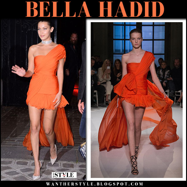 Bella Hadid in orange one shoulder dress giambattista valli vogue party july 4 2017 what she wore