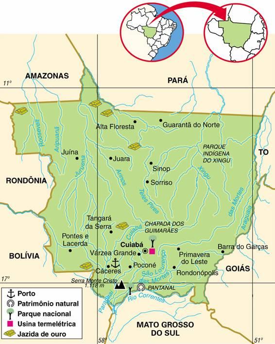 Mato Grosso | Mapas Geográficos de Mato Grosso