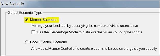 LoadRunner - Manual Scenario Option