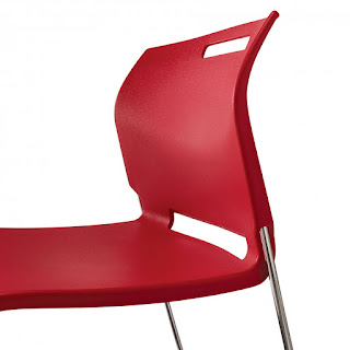 Red Stackable Guest Chair with Handle