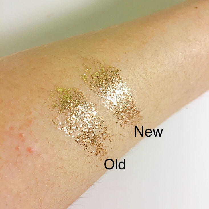 wet n wild coloricon Glitter Single old vs new Brass swatches