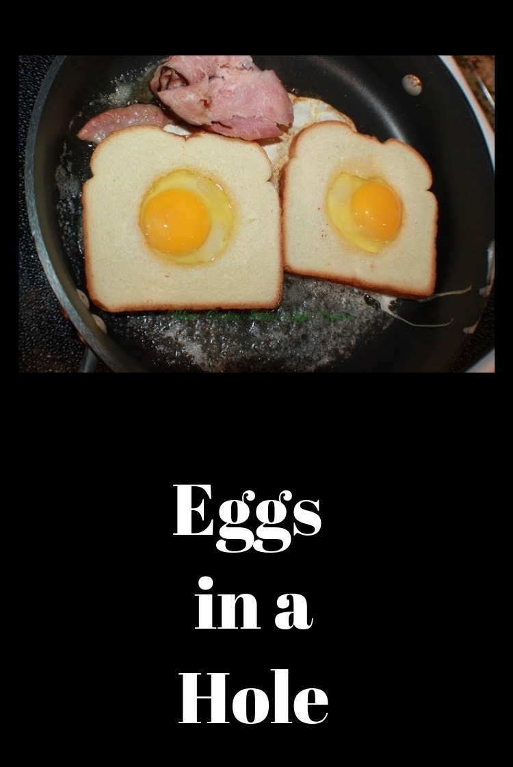 This is a famous egg breakfast usually called toad in a hole, egg in a hole, birds in a nest. It is a slice of bread with the middle cut out and a poached egg in the center
