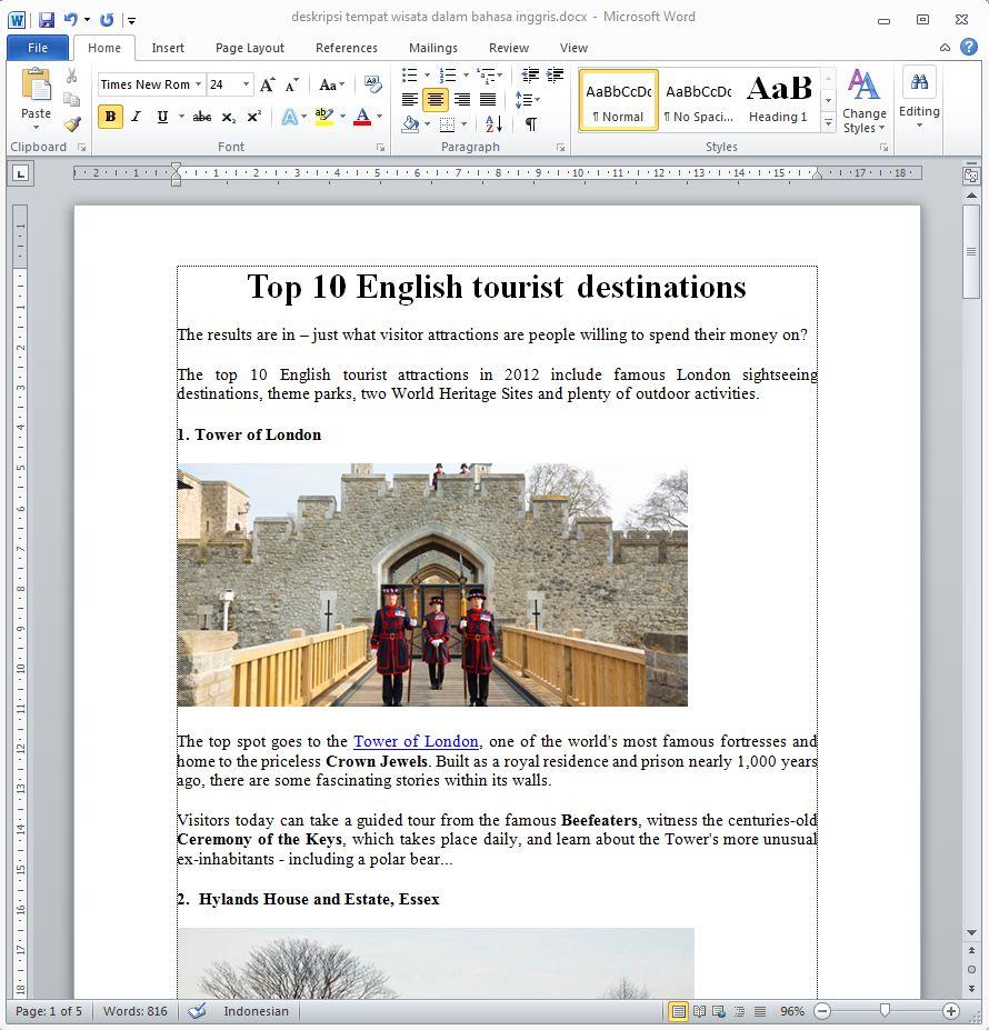 Deskripsi Tempat Wisata Dalam Bahasa Inggris