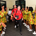 See How Ladies Welcomed Atletico Madrid Players After Landing In Uyo. Photos