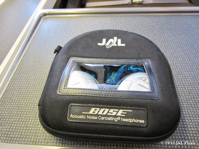 Bose canceling headphones are used in JAL First Class