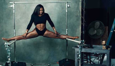 serena williams shows her impressive strength as her legs are 180 degrees apart