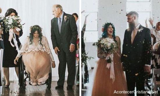 Novia en silla de ruedas llega a matrimonio