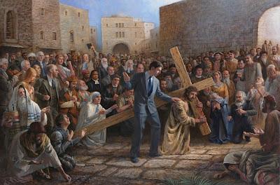 Jesus Christus mit Kreuz  lustig