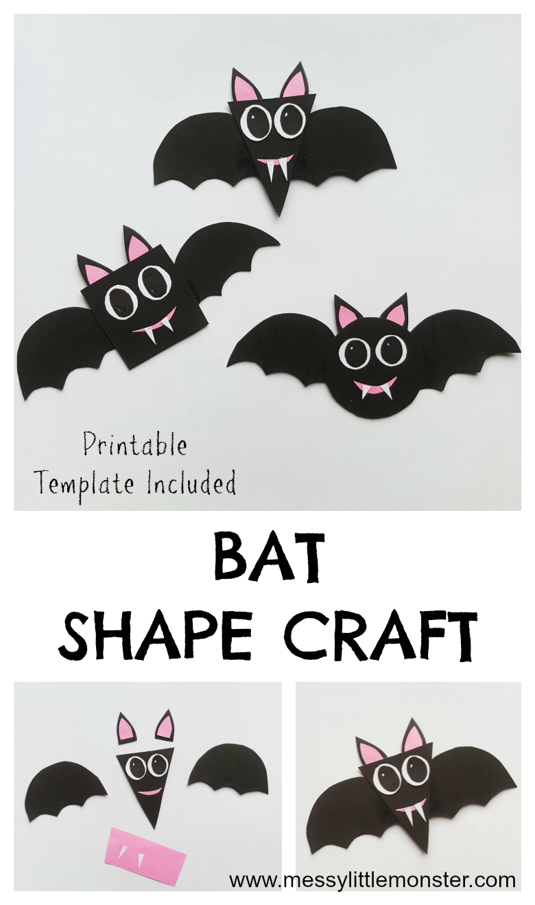Bat craft and preschool shapes activity. Bat pattern included. Easy shape activities for preschool.