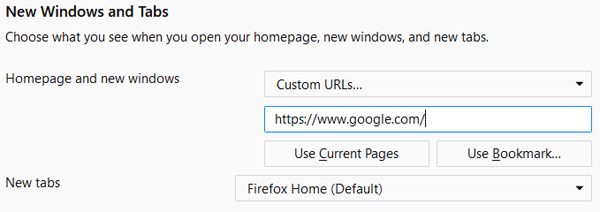 Firefox make Google my homepage