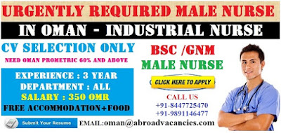 URGENTLY REQUIRED MALE NURSES FOR OMAN