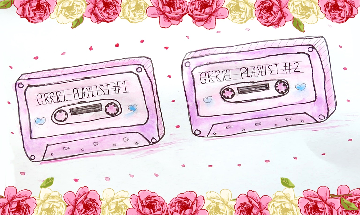 grrrl playlist feminst cassette doodle