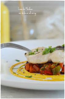Lomo de merluza con verduras al curry- Receta de merluza exquisita