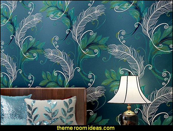 Peacock Feathers wallpaper  Peacock theme decorating - peacock theme decor - exotic style decorating - Peacock Decorations - Peacock Nursery