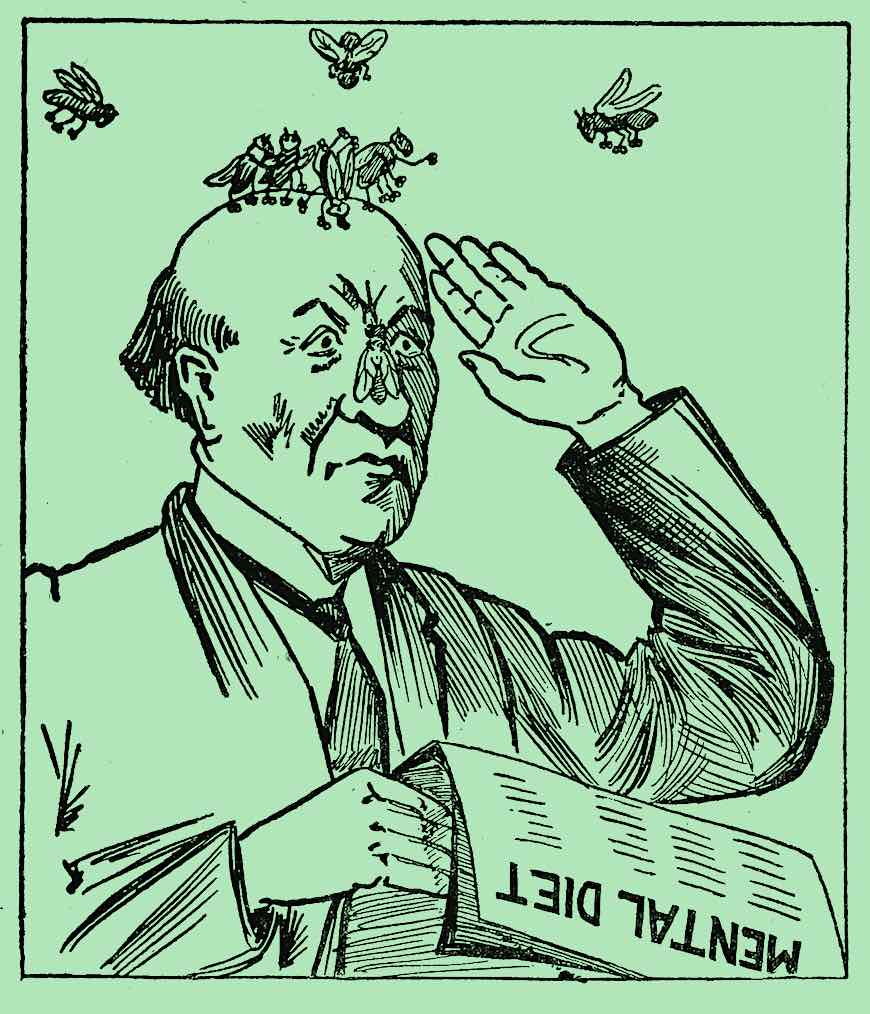 "a 1918 cartoon of a fly covered man holding a newspaper with headline  ""Mental Diet"""