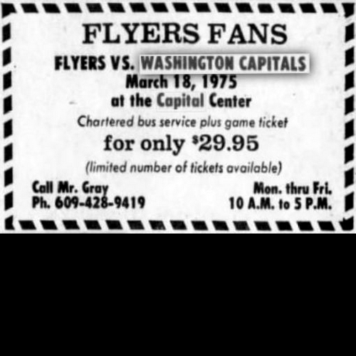 Speaking of the Flyers, ads in Philadelphia newspapers encouraged fans to follow their team to Capital Centre; busloads did in the mid-70's, causing sportswriters to dub the Centre 'Spectrum South'