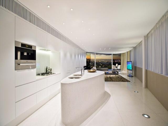 Minimalist kitchen and living room with the views