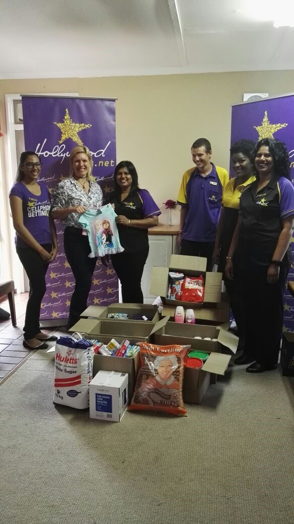 Hollywoodbets team  members visited  to deliver some much-needed groceries