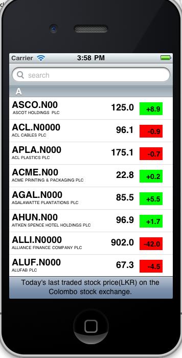 Harini's Webspace  : Colombo Stock Exchange iPhone Application