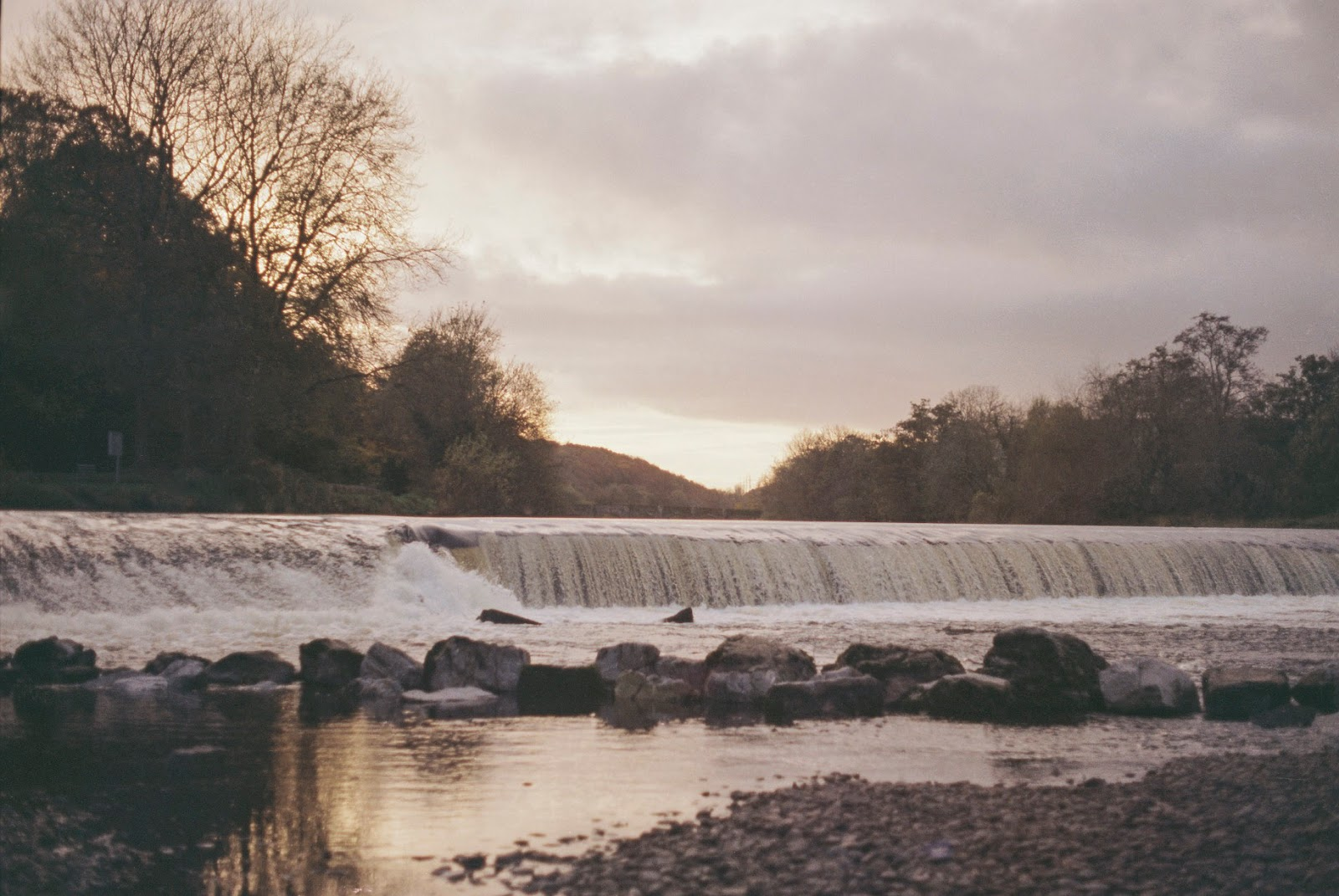 A weir on the river Lee captured in the Ballincollig Regional Park, County Cork.