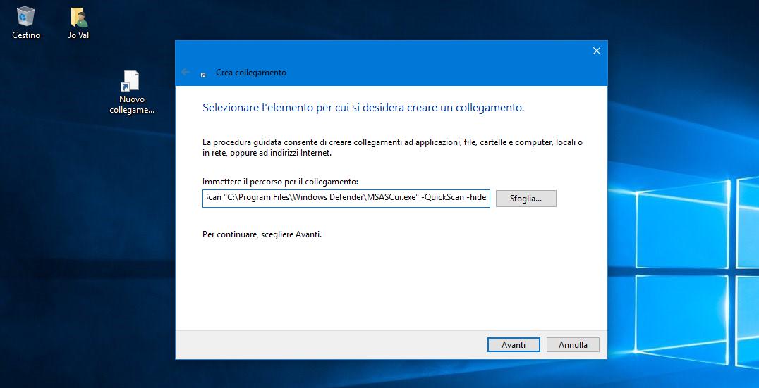 Collegamento per avviare una Scansione veloce con Defender in Windows 10 3