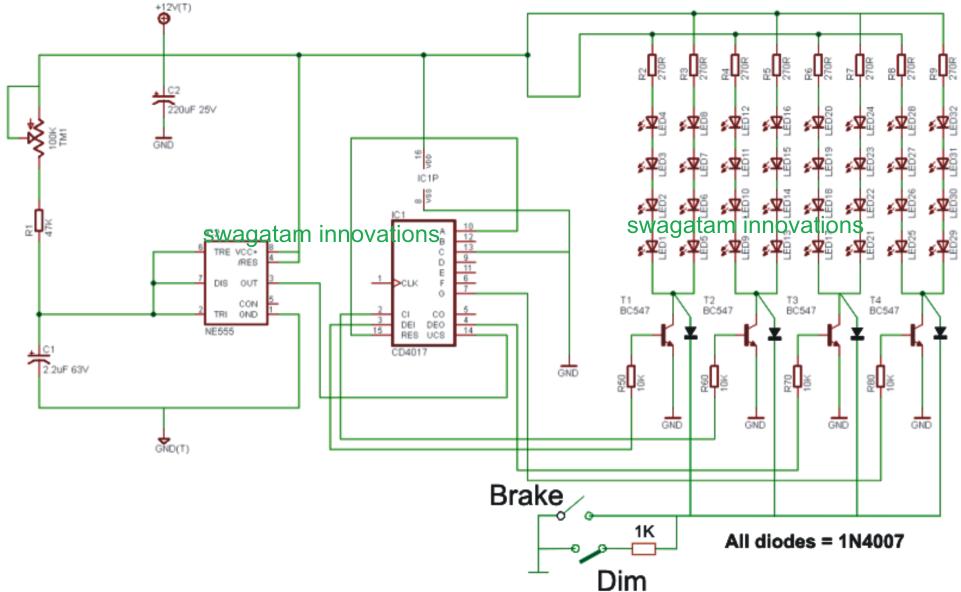 Led Turn Signal Flasher Wiring Diagram C Bus Home How To Make Car Chasing Tail Light, Brake Light Circuit