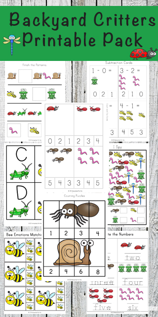 FREE Backyard critters Printable Pack - make practicing alphabet letters, counting, what comes next, number words, shapes, clip cards, and so much more for summer learning, extra practice, at home preschool for preschool, kindergarten, and first grade kids