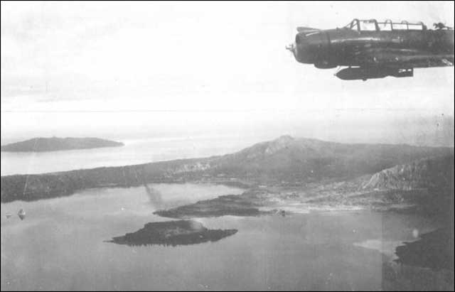 A Japanese Kate bomber flying over Rabaul on 20 January 1942 worldwartwo.filminspector.com