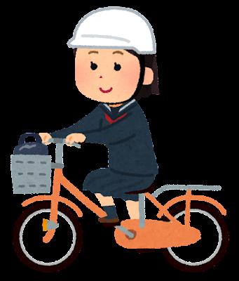 ヘルメットをかぶって自転車通学する学生のイラスト(女子)