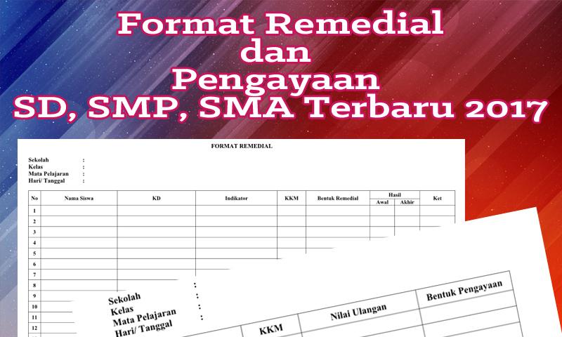 Format Remedial dan Pengayaan SD, SMP, SMA Terbaru 2017