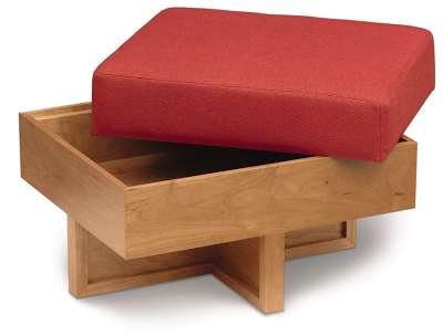 elegant wood storage ottoman with cushion