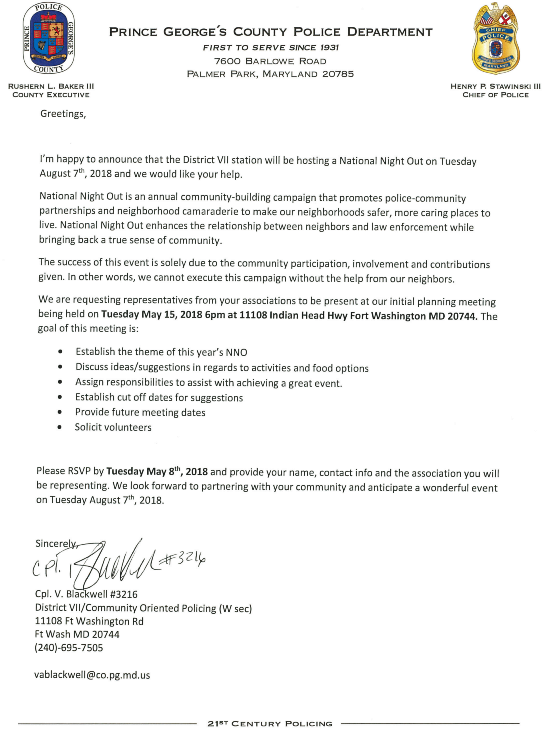 Tantallon announcements 2018 national night out please see the attached invite letter for the upcoming nno planning meeting we would like to incorporate the ideas suggestions and assistance from the stopboris Image collections