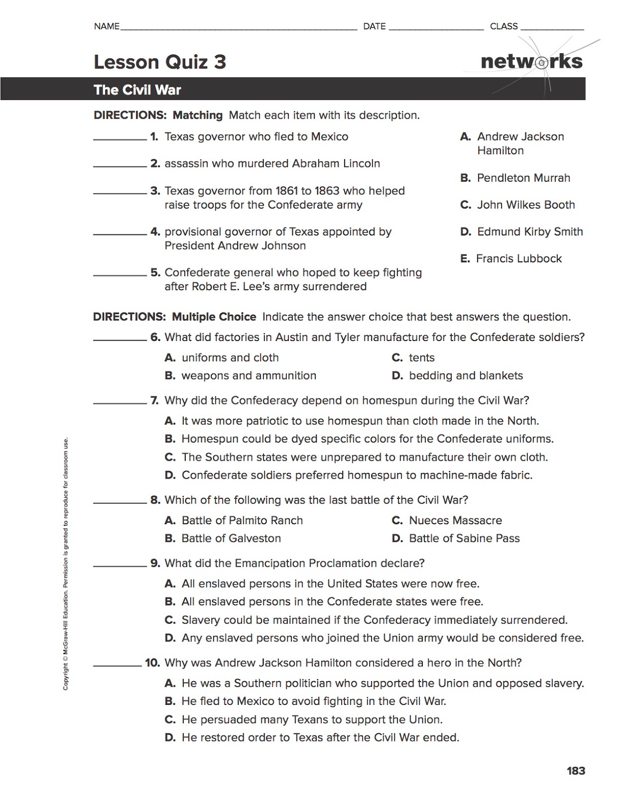 Ehms Texas History Chapter 16 Lesson 2 Quiz Worksheet