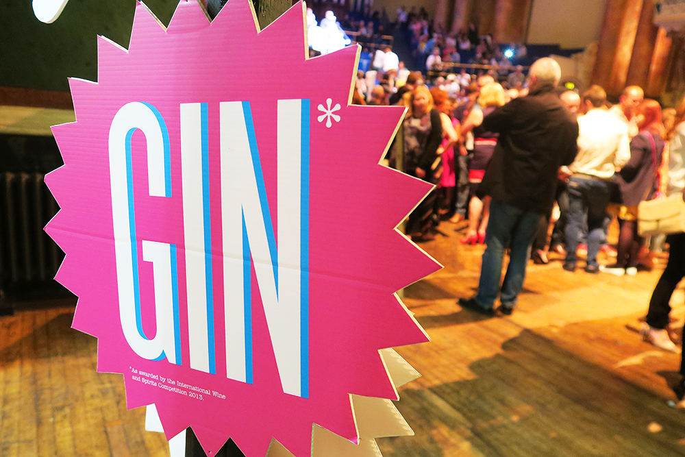 Gin sign at the Gin Festival Leeds 2016