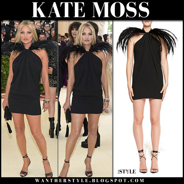 Kate Moss in black mini dress with feathers saint laurent at Met Gala 2018 style designer