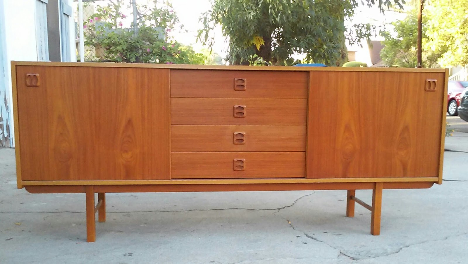Danish Floating Credenza : Danish credenza and floating hutch