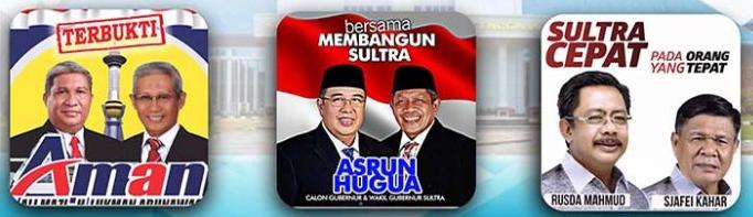 Tiga pasangan calon gubernur dan wakil gubernur Sulawesi Tenggara (Sultra)