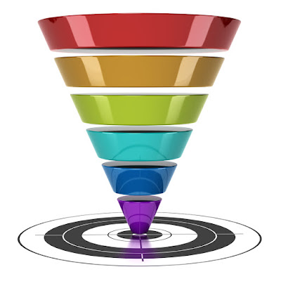 a multi-colored funnel is on the bull's eye of a target