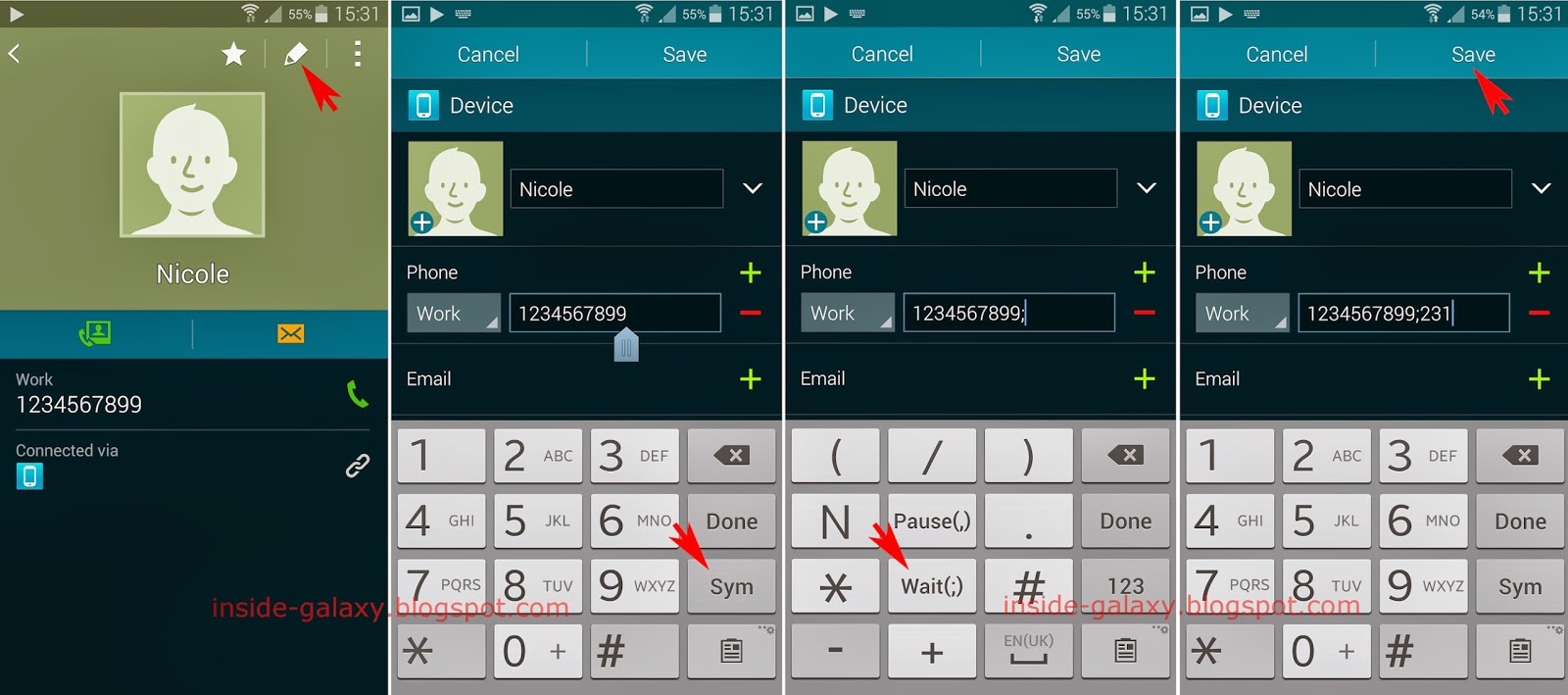 Samsung Galaxy S5: How to Add a Wait Into a Contact in