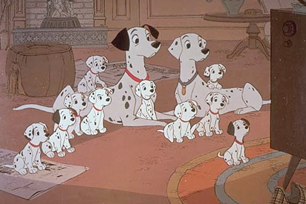 Dalmations in living room 101 Dalmations 1961 animatedfilmreviews.blogspot.com