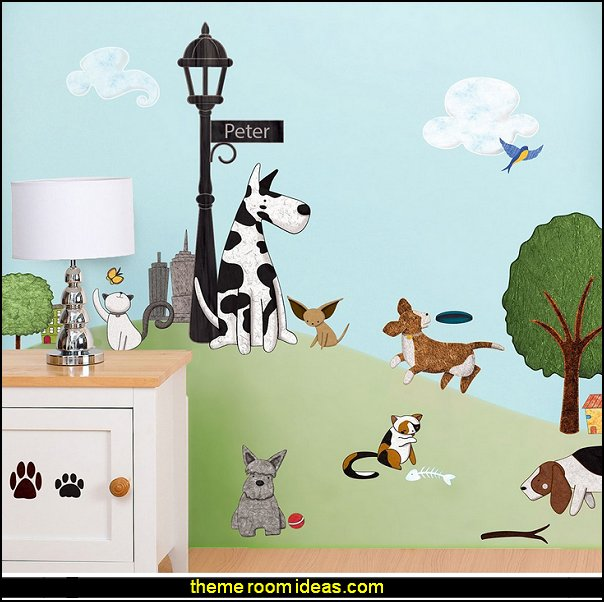 My Wonderful Walls Cat and Dog Wall Mural Stencils