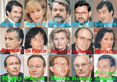 Aznar, Aguirre, Oreja, Rajoy, Cascos, Arenas, De Palacio, Tocino, Matutes, Mariscal, Rato, Piqué, Serra, Romay y Arias Salgado