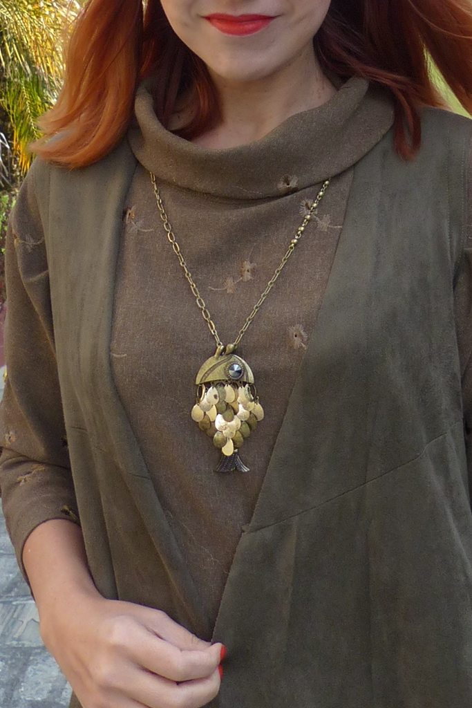 Metallic fish necklace