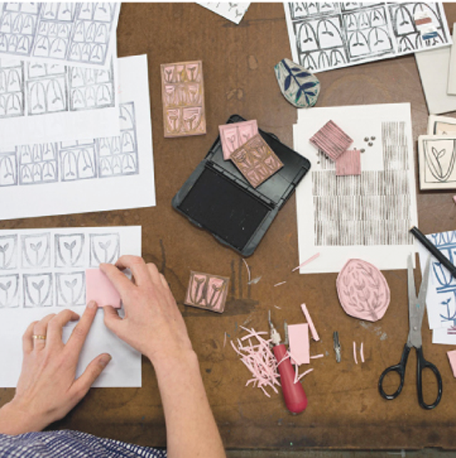 Surface printing workshop with Lotta Jansdotter, carving stamps