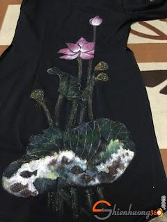 Vẽ áo với màu acrylic 3D - Tác phẩm của chị Biêng Biếc
