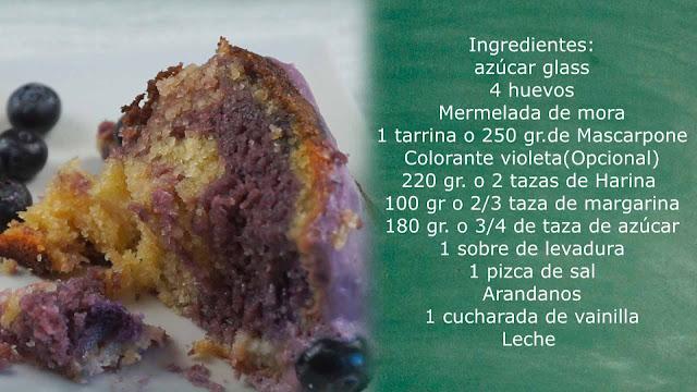 ingredientes bundtcake de queso y mora