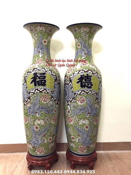 Lọ Lộc Bình Vẽ Tùng Công Phú Quý Men Lam Cao 1m6