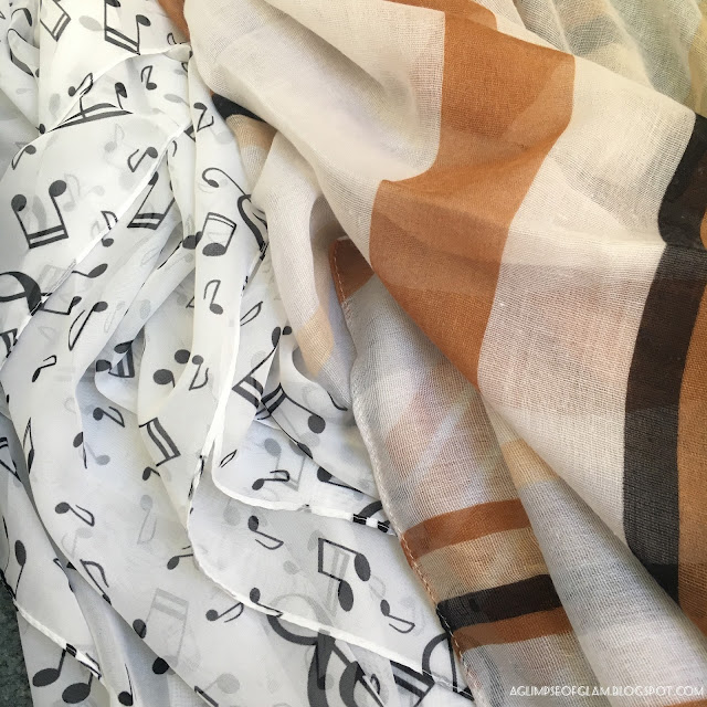 white scarf with music notes and orange striped scarf Gamiss review - Andrea Tiffany A Glimpse of Glam