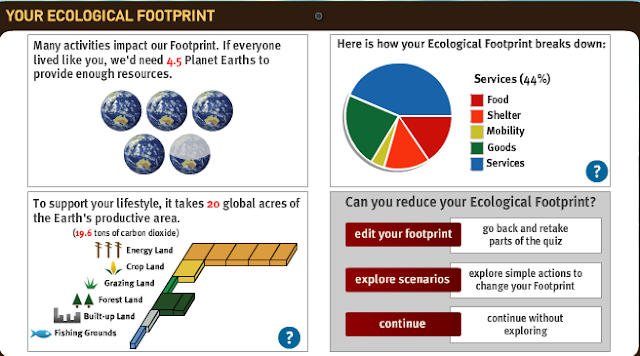 My ecological footprint quiz results